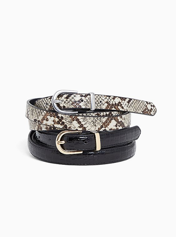 Snakeskin Print & Crocodile Faux Leather Belt Set - Set of 2, , hi-res