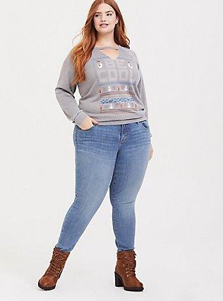 Disney Frozen 2 Olaf Be Cool Grey Raglan Sweatshirt, HEATHER GREY, alternate