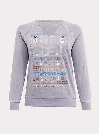 Disney Frozen 2 Olaf Be Cool Grey Raglan Sweatshirt, HEATHER GREY, flat