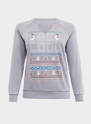 Plus Size Disney Frozen 2 Olaf Be Cool Grey Raglan Sweatshirt, HEATHER GREY, flat