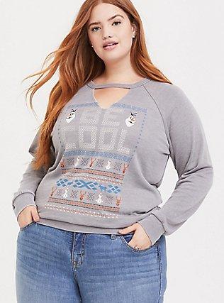 Disney Frozen 2 Olaf Be Cool Grey Raglan Sweatshirt, HEATHER GREY, hi-res