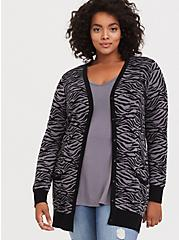 Dark Grey Zebra Jacquard Boyfriend Cardigan, ZEBRA - BLACK, alternate