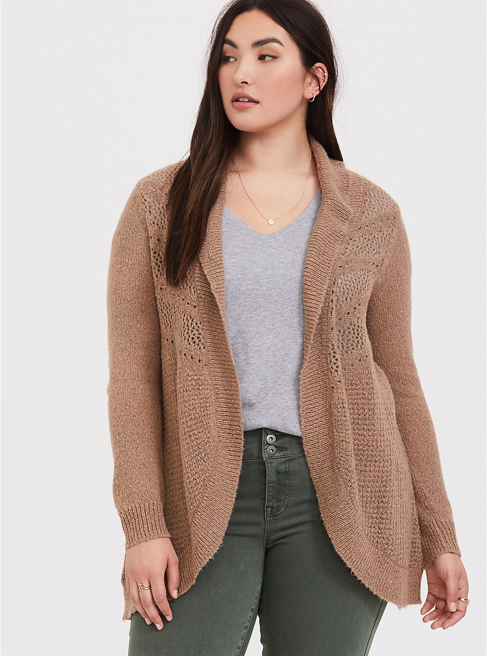 Taupe Pointelle Knit Shawl Cardigan, TAN  BLACK, hi-res