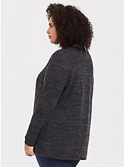 Super Soft Plush Dark Grey Drape Front Cardigan, DEEP BLACK, alternate