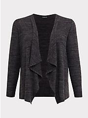 Super Soft Plush Dark Grey Drape Front Cardigan, DEEP BLACK, hi-res
