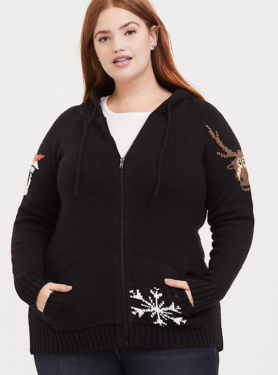 Disney Frozen 2 Olaf & Sven Black Zip Hoodie, , hi-res