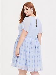 Plus Size Disney Frozen 2 Elsa Snowflake Light Blue Chiffon Dress, LIGHT BLUE, alternate