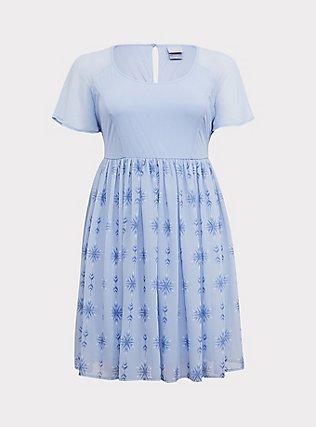 Disney Frozen 2 Elsa Snowflake Light Blue Chiffon Dress, LIGHT BLUE, flat