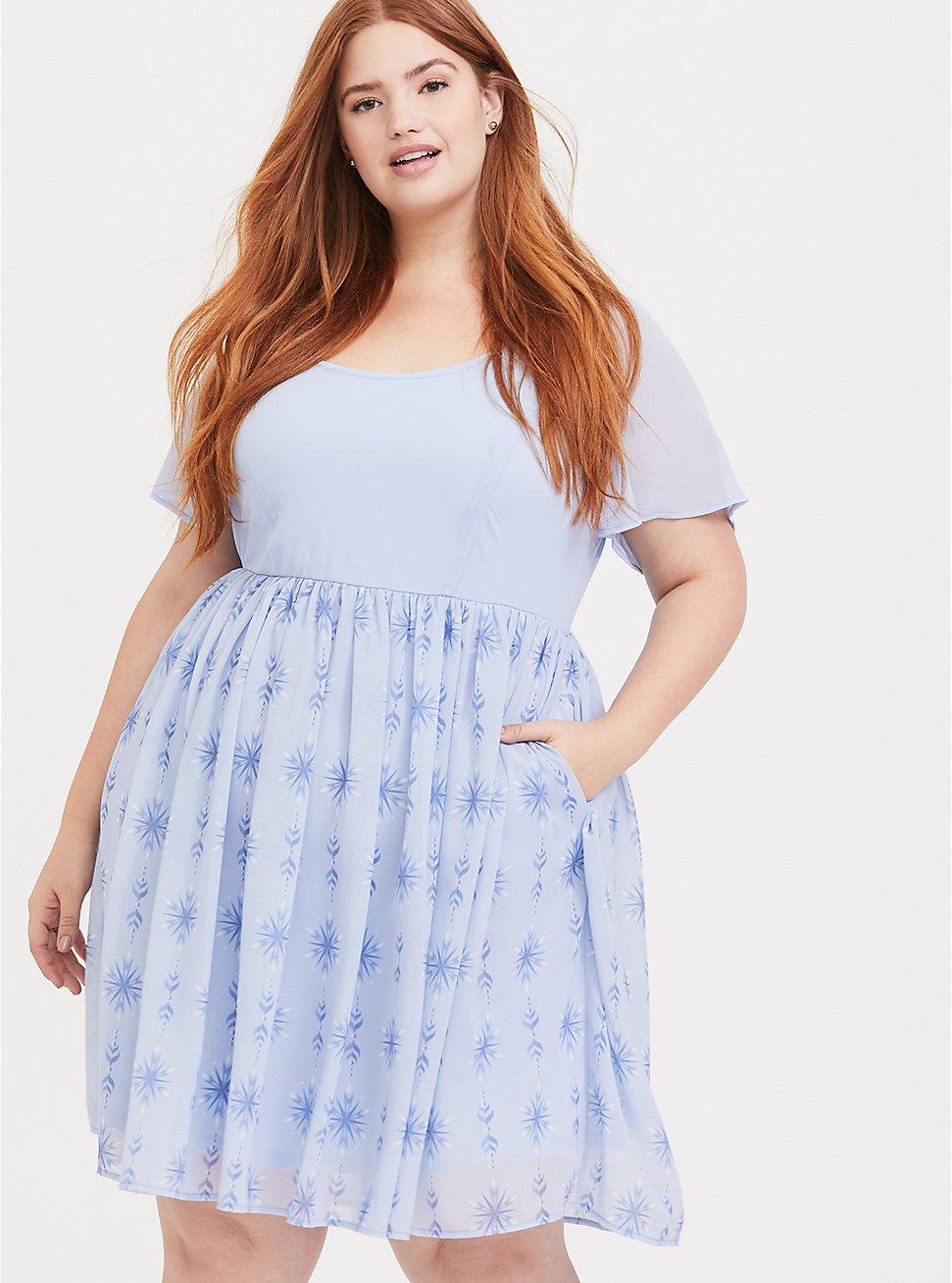 Plus Size Disney Frozen 2 Elsa Snowflake Light Blue Chiffon Dress, LIGHT BLUE, hi-res