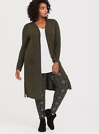 Plus Size Super Soft Plush Olive Green Longline Cardigan, DEEP DEPTHS, alternate