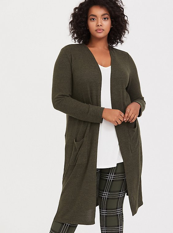 Super Soft Plush Olive Green Longline Cardigan, , hi-res
