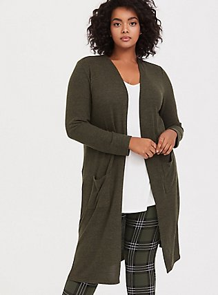 Plus Size Super Soft Plush Olive Green Longline Cardigan, DEEP DEPTHS, hi-res