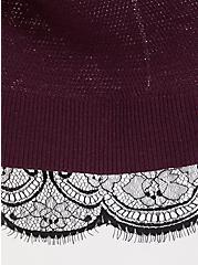 Plus Size Burgundy Purple & Black Lace 2Fer Sweater, HIGHLAND THISTLE, alternate