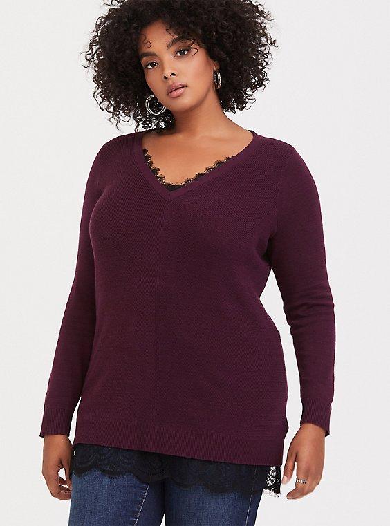 Plus Size Burgundy Purple & Black Lace 2Fer Sweater, , hi-res