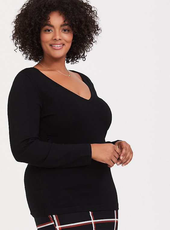 Black Slub V-Neck Pullover Sweater, DEEP BLACK, hi-res