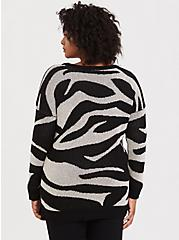 Zebra Jacquard Pullover Sweater, ZEBRA - BLACK, alternate