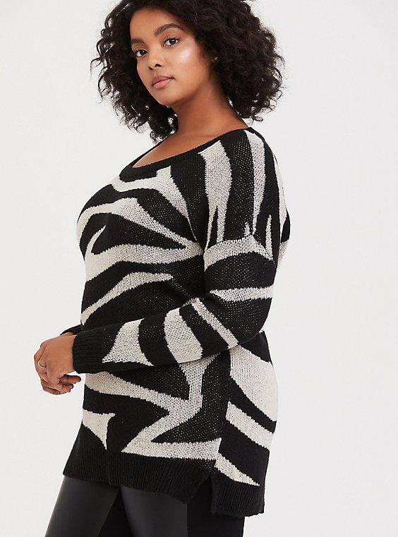 Zebra Jacquard Pullover Sweater, , hi-res