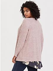 Super Soft Plush Dusty Pink Brushed Drape Cardigan, PINK HEATHER, alternate