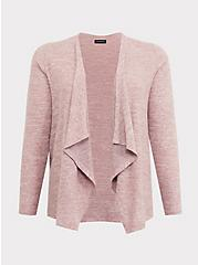 Super Soft Plush Dusty Pink Brushed Drape Cardigan, PINK HEATHER, hi-res