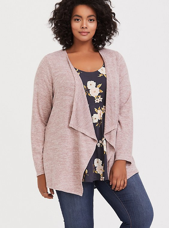 Super Soft Plush Dusty Pink Brushed Drape Cardigan, , hi-res