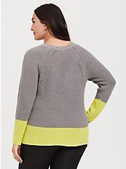 Grey & Neon Yellow Colorblock Sweater, HEATHER GREY, alternate