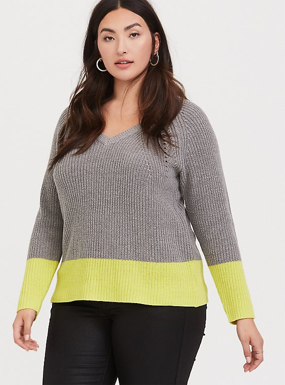 Grey & Neon Yellow Colorblock Sweater, , hi-res