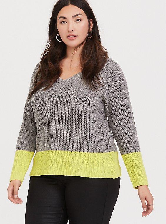 Grey & Neon Yellow Colorblock Sweater, HEATHER GREY, hi-res