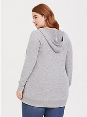 Plus Size Super Soft Plush Light Grey Hooded Cardigan, HEATHER GREY, alternate