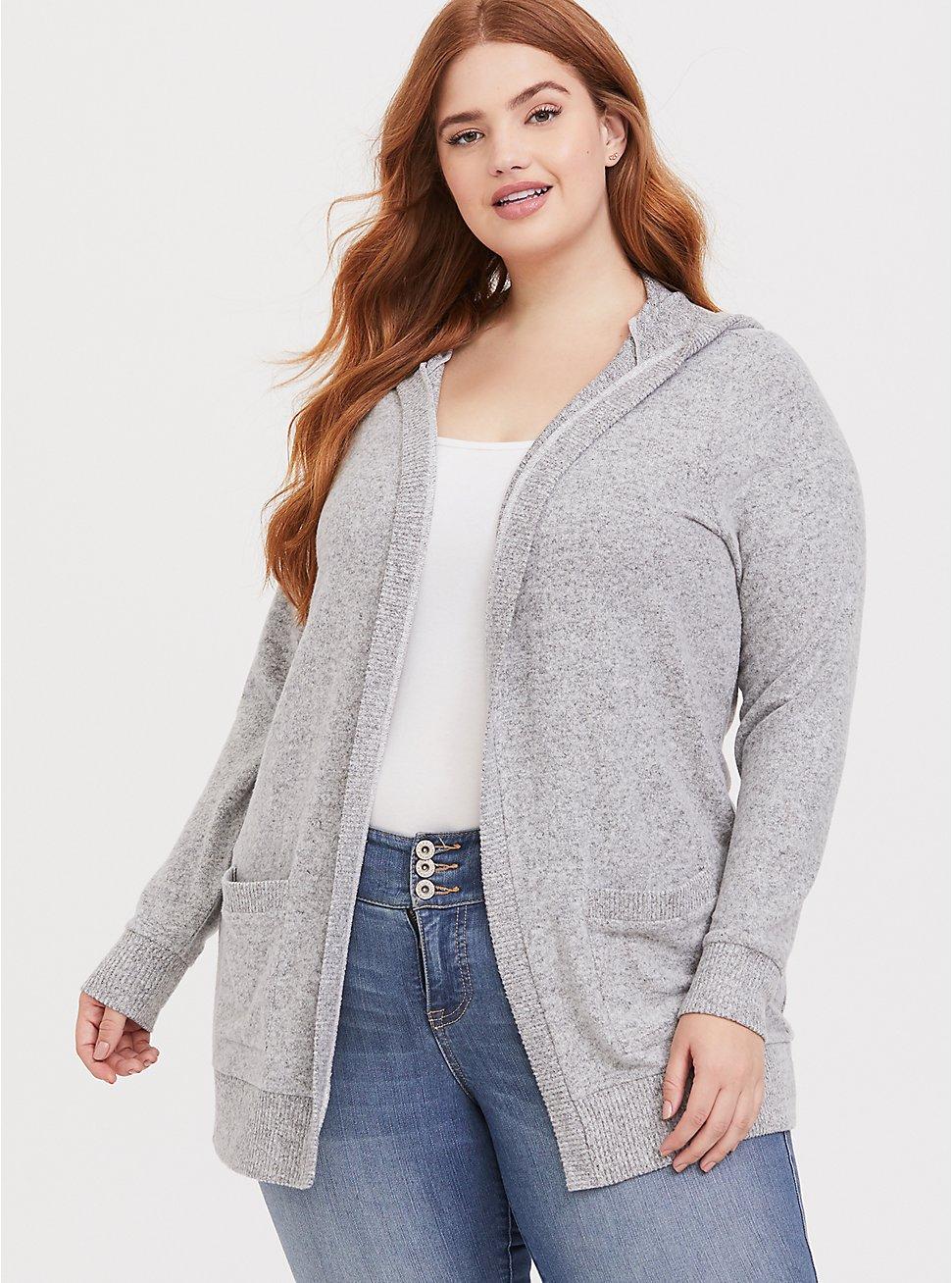 Plus Size Super Soft Plush Light Grey Hooded Cardigan, HEATHER GREY, hi-res