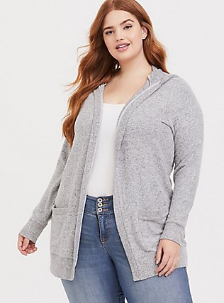 Super Soft Plush Light Grey Hooded Cardigan, HEATHER GREY, hi-res