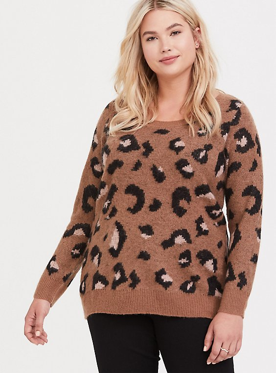 Leopard Brushed Pullover Sweater, , hi-res