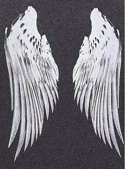 Charcoal Grey & White Wings Zip Hoodie , CHARCOAL, alternate