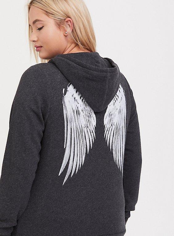 Charcoal Grey & White Wings Zip Hoodie , CHARCOAL, hi-res