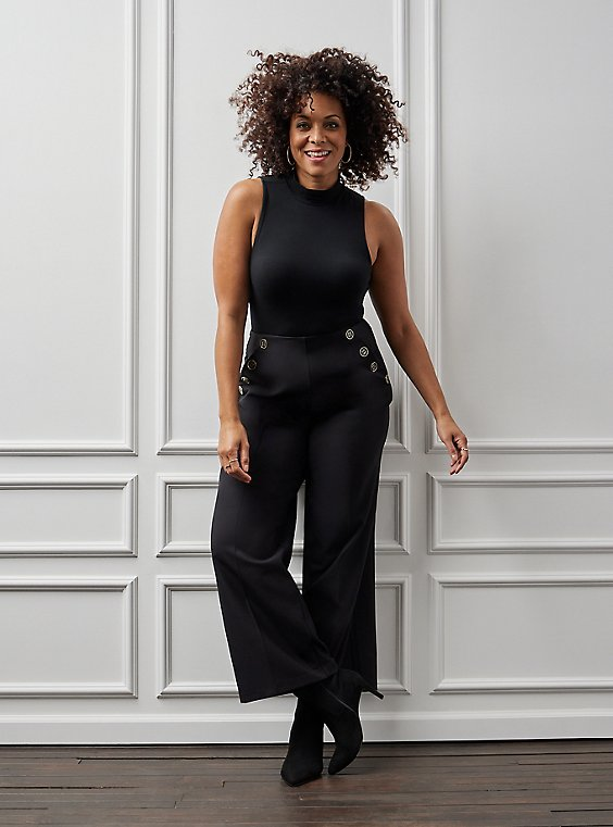 High Waisted Sailor Pant - Black, , hi-res