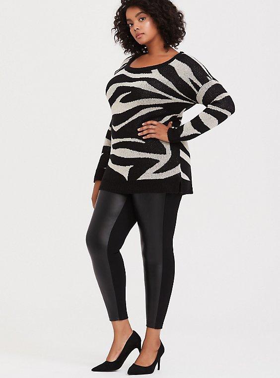 Faux Leather & Ponte Pixie Pant - Black, , hi-res