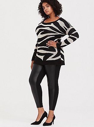 Faux Leather & Ponte Pixie Pant - Black, DEEP BLACK, hi-res