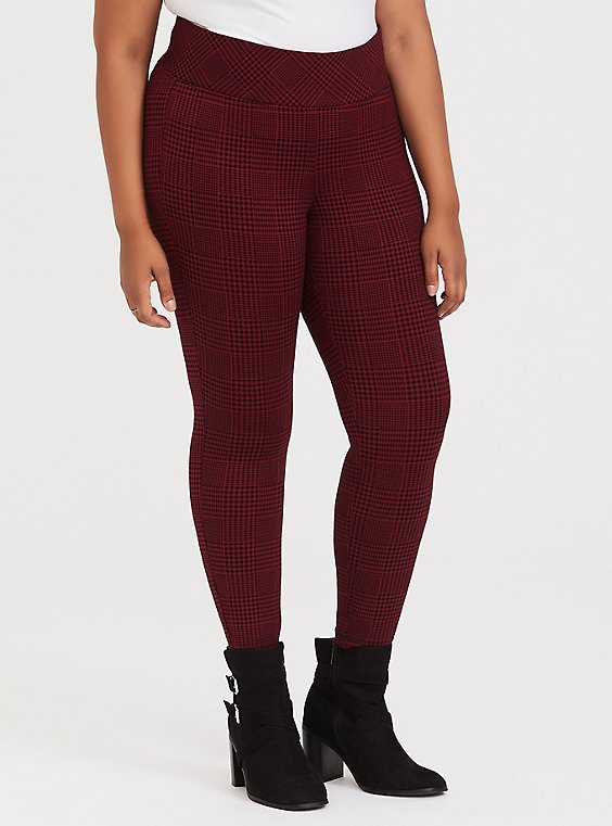 Studio Ponte Slim Fix Pixie Pant - Red Plaid Houndstooth, , hi-res