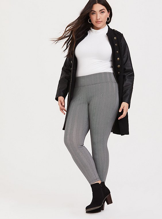 Studio Ponte Slim Fix Pixie Pant - Black Herringbone, , hi-res