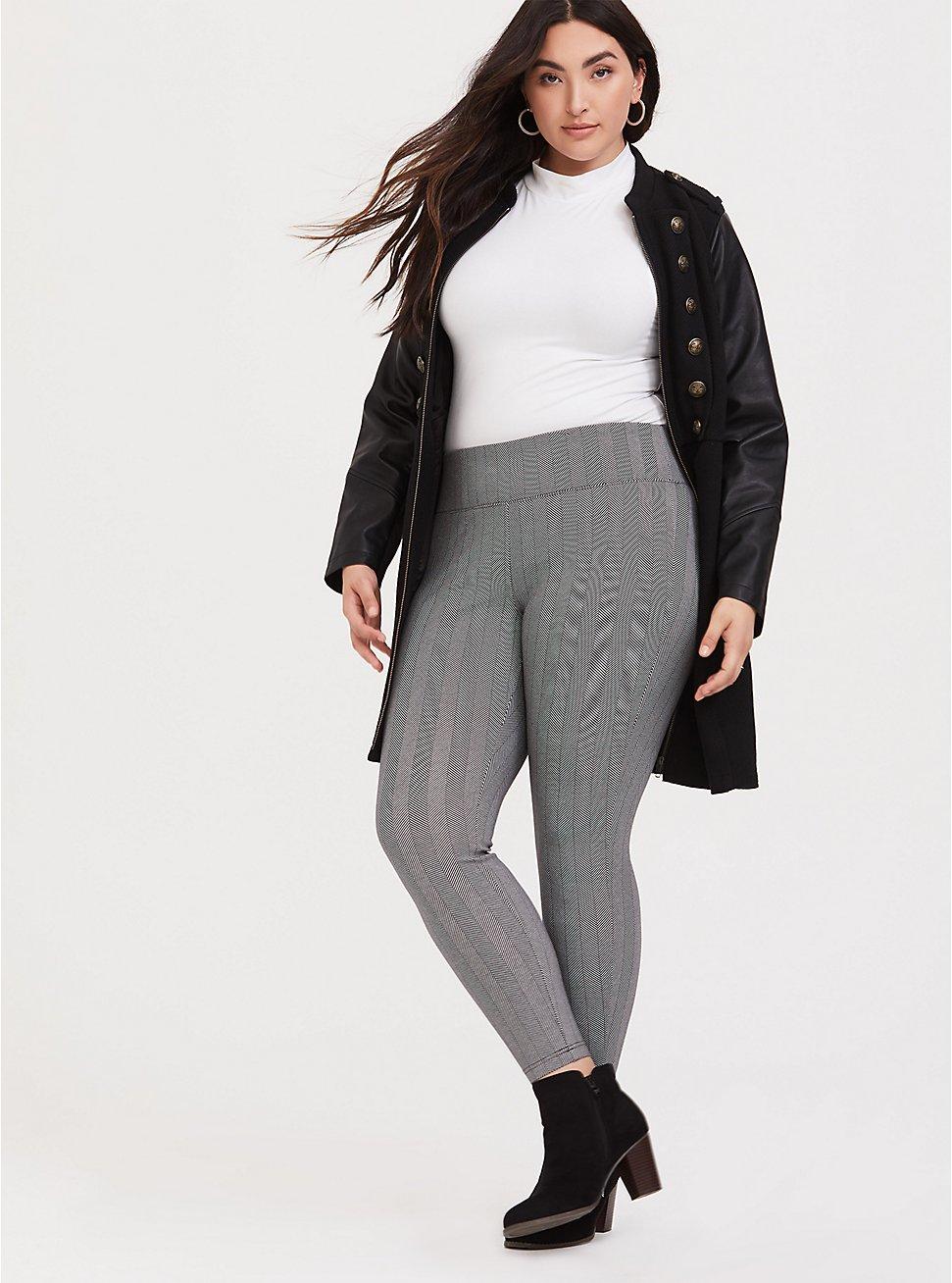 Plus Size Studio Ponte Slim Fix Pixie Pant - Black Herringbone, HERRINGBONE PLAID, hi-res