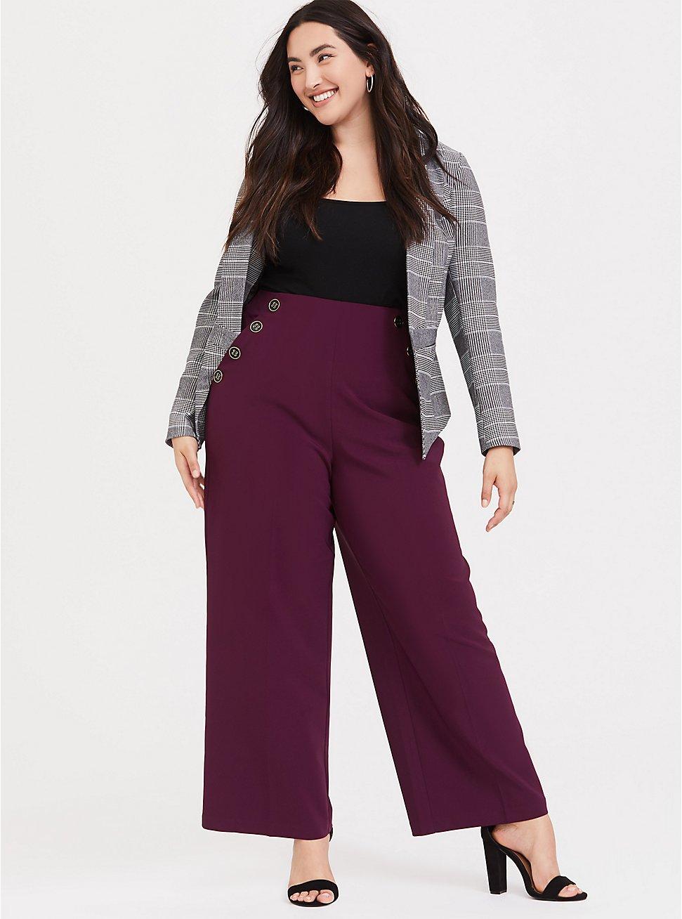High Waisted Sailor Pant – Burgundy Purple, HIGHLAND THISTLE, hi-res