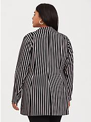 Plus Size Black Pinstripe Crepe Longline Blazer, STRIPES, alternate