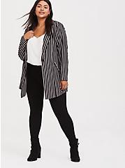 Plus Size Black Pinstripe Crepe Longline Blazer, STRIPES, hi-res