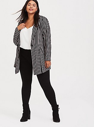 Black Pinstripe Crepe Longline Blazer, STRIPES, hi-res