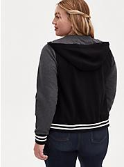 Black & Grey Varsity Hooded Bomber Jacket, DEEP BLACK, alternate