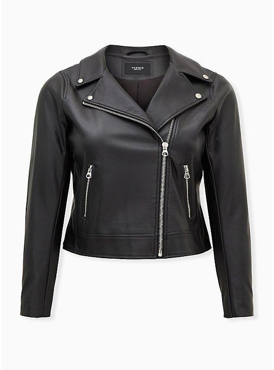 Black Faux Leather Moto Jacket, , flat