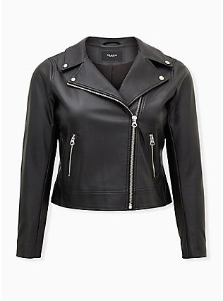Black Faux Leather Moto Jacket, DEEP BLACK, flat