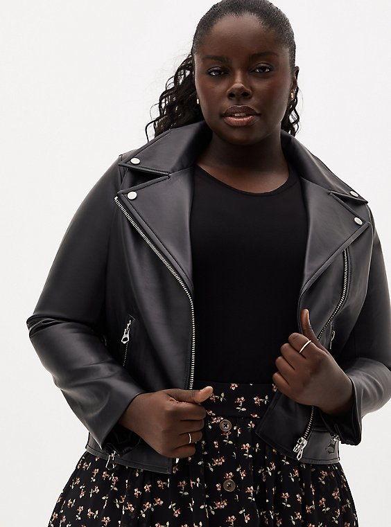 Plus Size Black Faux Leather Moto Jacket, , hi-res