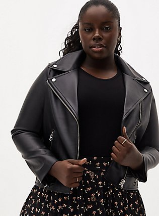 Black Faux Leather Moto Jacket, DEEP BLACK, hi-res