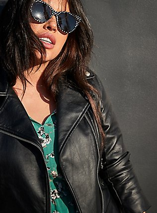 Black Faux Leather Moto Jacket, DEEP BLACK, pdped