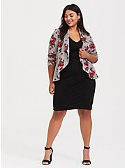 Houndstooth Plaid & Floral Drape Front Premium Ponte Blazer, PLAID, alternate
